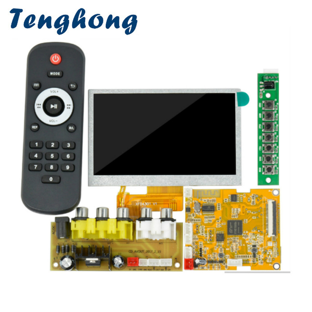 Tenghong 4.3 Inch Car Audio USB TF FM Radio LCD Bluetooth Decoder Board MP3 Player  MP3 WMA Decoder Remote For Home Amplifier