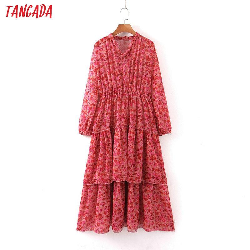 Tangada Fashion Women Flowers Print Red Cake Dress 2020 New Arrival Long Sleeve Ladies Tunic Midi Dress Vestidos SL04