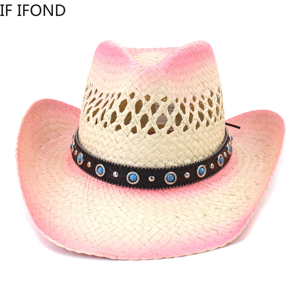 Summer Sun Cowboy Straw Hat Western Women Girl Pink Tiara Cowgirl Hat Hand-crafted Holiday Costume Party Hat Panama Beach Cap