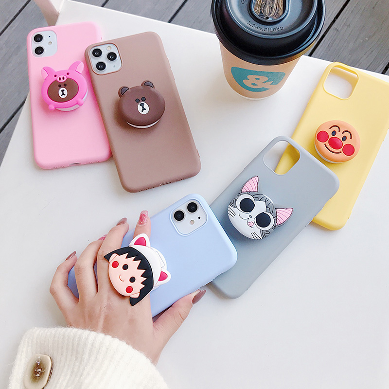 3D silicone cartoon case for <font><b>huawei</b></font> y9 y7 <font><b>y6</b></font> y5 prime pro <font><b>2019</b></font> 2018 girl cute phone holder stand soft cover <font><b>funda</b></font> coque image