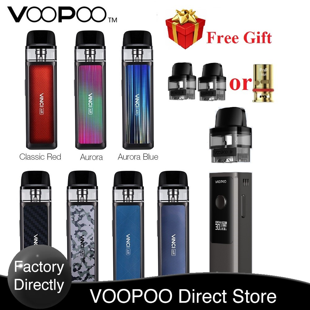 FREE Pods / RBA Original VOOPOO VINCI AIR Pod Kit with 900mAh Battery 4ml Pod System MTL Vape Vaporizer vs Vinci X / Target PM80