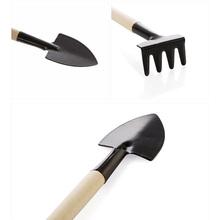 3 sztuk zestaw Mini narzędzia ogrodnicze mała łopata Rake Spade domu rośliny doniczkowe Mini koparka drewna uchwyt metalowe głowy narzędzia ogrodnicze tanie tanio Support Flowers Potted Plant Dropshipping Wholesale