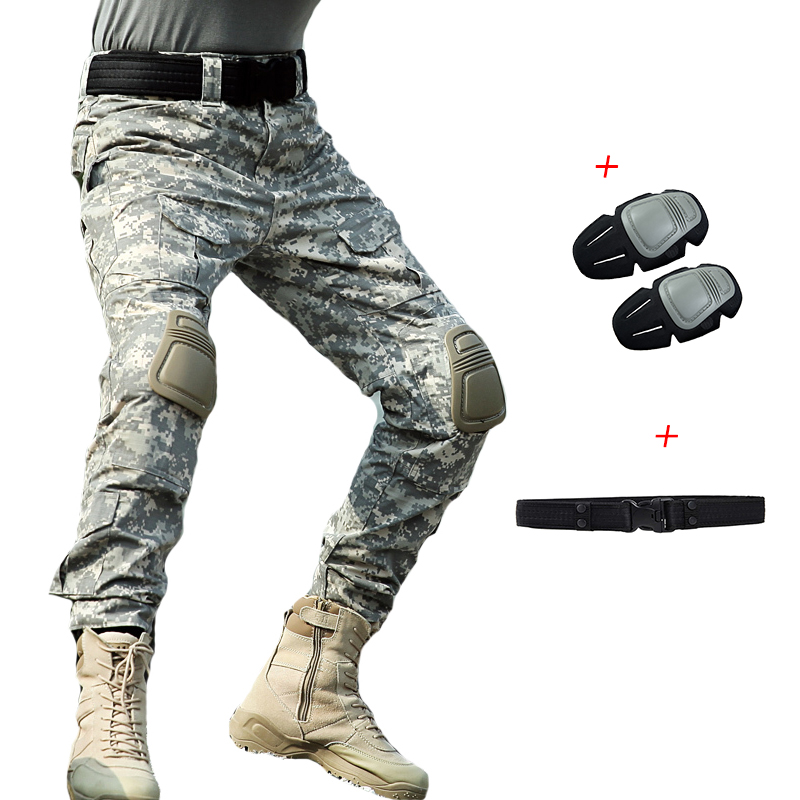 2019 New Men Military Combat Pants Knee Pads ACU Camouflage Cargo Pants Plus Size Army Soldier Pants Men Tactical Trousers 4XL