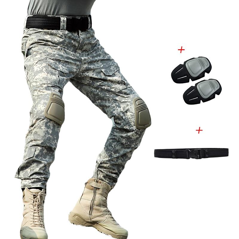 2019 New Men Military Combat Pants Knee Pads ACU Camouflage Cargo Pants Plus Size Army Soldier Pants Men Tactical Trousers 4XL