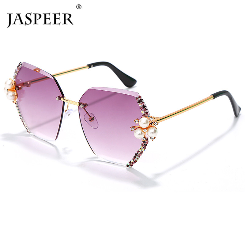 JASPEER Rimless Sunglasses Shades Rhinestone Diamond Hexagon Vintage Women Ladies Brand Designer