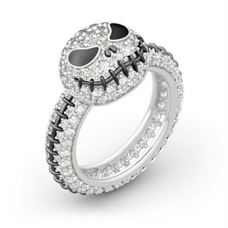 La pesadilla antes de Navidad Sally de Jack Skellington anillo de esmalte joyería, anillo de cristal, regalo