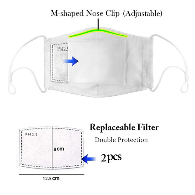 Reusable mask with protection filter, 1pc Mask with 2pc filter