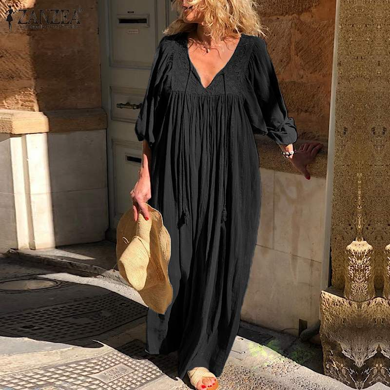 ZANZEA Women Dress 2019 Autumn V Neck Long Sleeve Floor-length Robe Femme Casual Solid Maxi Long Dress Female Vestidos Plus Size