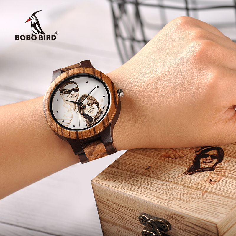 BOBO BIRD Printing Photo Relogio Masculino Customized Logo Wood Watch With Gift Box Drop Shipping In Wooden Box Valentine's Day