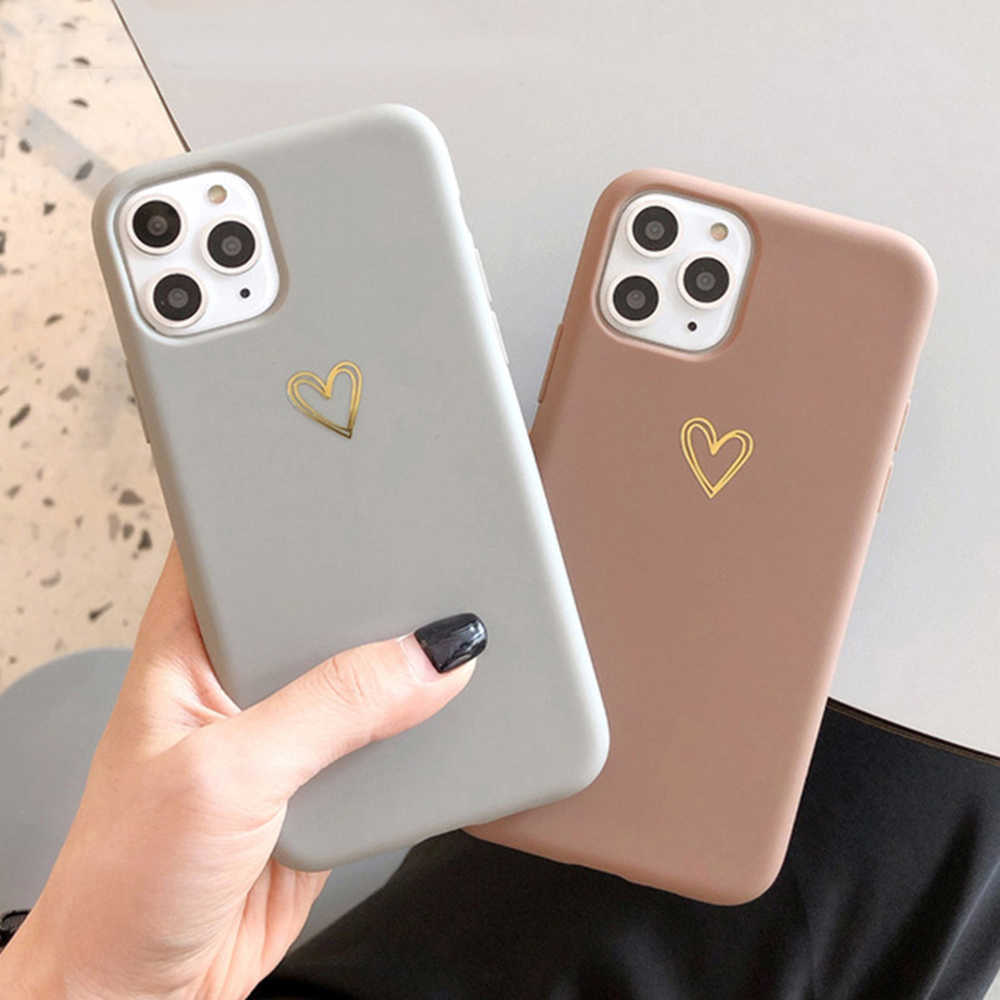 Lovecom Plating Hart Telefoon Case Voor Iphone 11 Pro Max Xr Xs Max 6 6S 7 8 Plus X candy Kleur Eenvoudige Soft Silicon Tpu Cover