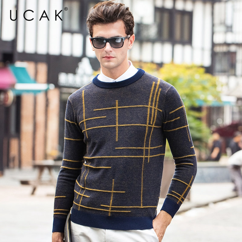 UCAK Brand Pure Merino Wool Sweater Men 2019 New Arrival Autumn Winter Soft Warm Pullover Men Striped Cashmere Pull Homme U3063