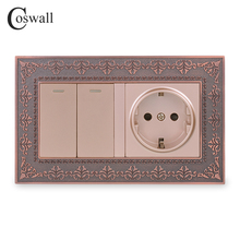 Coswall Zinc Alloy Metal Panel Russia Spain EU Standard Wall Socket + 2 Gang 1 Way On / Off Light Switch Embossing Retro Frame