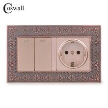 Coswall ze stopu cynku metalowy panel rosja hiszpania standard ue gniazdo ścienne + 2 Gang 1 Way na/wyłączanie włącznika światła tłoczenie Retro rama