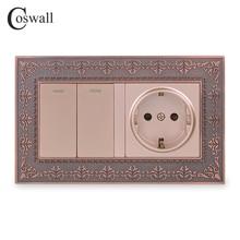 Coswall металлическая панель из цинкового сплава, Россия, Испания настенная розетка стандарта ЕС + 2 банды, 1 ходовой выключатель, светильник с тиснением, ретро рамка