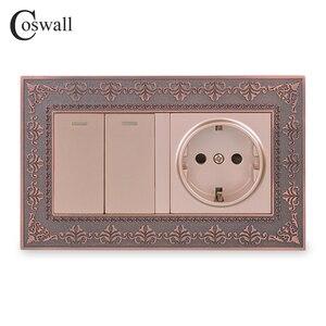 Image 1 - Coswall سبائك الزنك لوحة معدنية روسيا اسبانيا الاتحاد الأوروبي القياسية مقبس الحائط 2 عصابة 1 طريقة تشغيل/إيقاف مفتاح الإضاءة النقش الرجعية الإطار