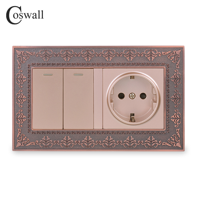 Coswall سبائك الزنك لوحة معدنية روسيا اسبانيا الاتحاد الأوروبي القياسية مقبس الحائط 2 عصابة 1 طريقة تشغيل/إيقاف مفتاح الإضاءة النقش الرجعية الإطار
