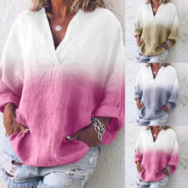 ZANZEA Women Patchwork Color Blouse Ladies Casual Loose Dye Shirt Female V-Neck Long Sleeve Blusas Work Tunic Tops Plus Size 5XL