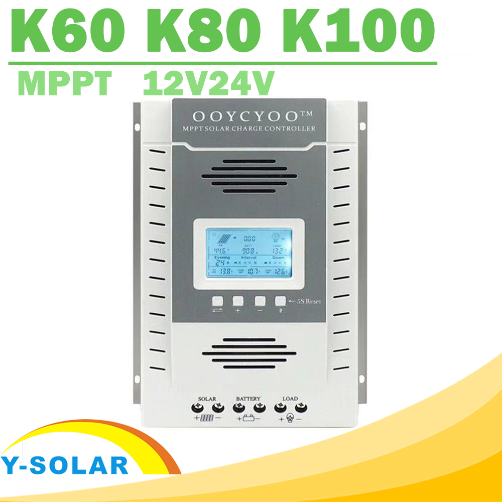 60A 80A 100A MPPT Solar Controller Max 96V Input Solar Panel 12V 24V Battery Regulator of LCD USB Bulk Floating Constant Charger
