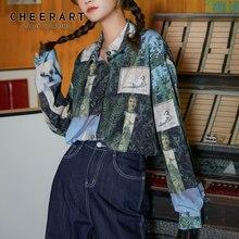 CHEERART – chemisier manches longues pour femmes, Vintage, imprimé Renaissance, chemise surdimensionnée, imprimé Floral, haut de styliste, automne 2020