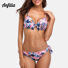 Anfilia 2019 New Women Low Waist Bikini Set Floral Print Swimwear Tied From Swimsuit Bandage Beachwear