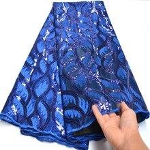 Afrika payetler dantel kumaş yüksek kaliteli kraliyet mavi Sequins kumaş nakış tül dantel kumaş afrika dantel parti mv461