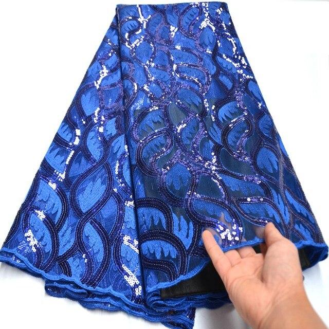Tissu dentelle à paillettes africaines bleu Royal