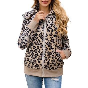 Women's Fashion Leopard Print Faux Fur Coat Casual Long Sleeve Zipper Up Shaggy Hoodie Outwear Jacket