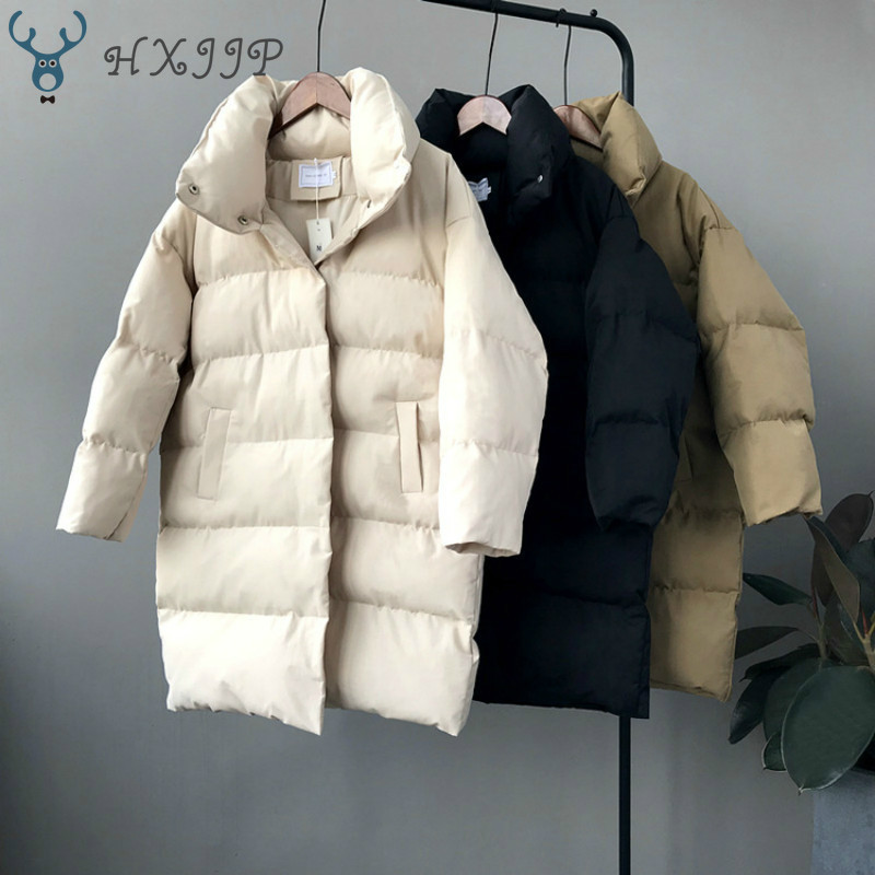 HXJJP Thick  Jacket Women Winter 2019 Outerwear Coats Female Long Casual Warm  Oversize puffer jacket Parka branded