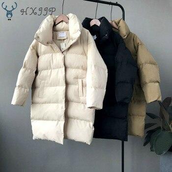 HXJJP gruba kurtka kobiety zima 2019 odzieży wierzchniej płaszcze kobiet długi casual ciepłe typu oversize kurtka pikowana Parka markowe
