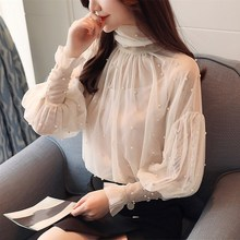 Plus Size 2Xl Lantern Sleeve Women Top Spring Blouse Beading Elegant Blouse Chiffon Pearl Shirt plus pearl beading bell sleeve jumper