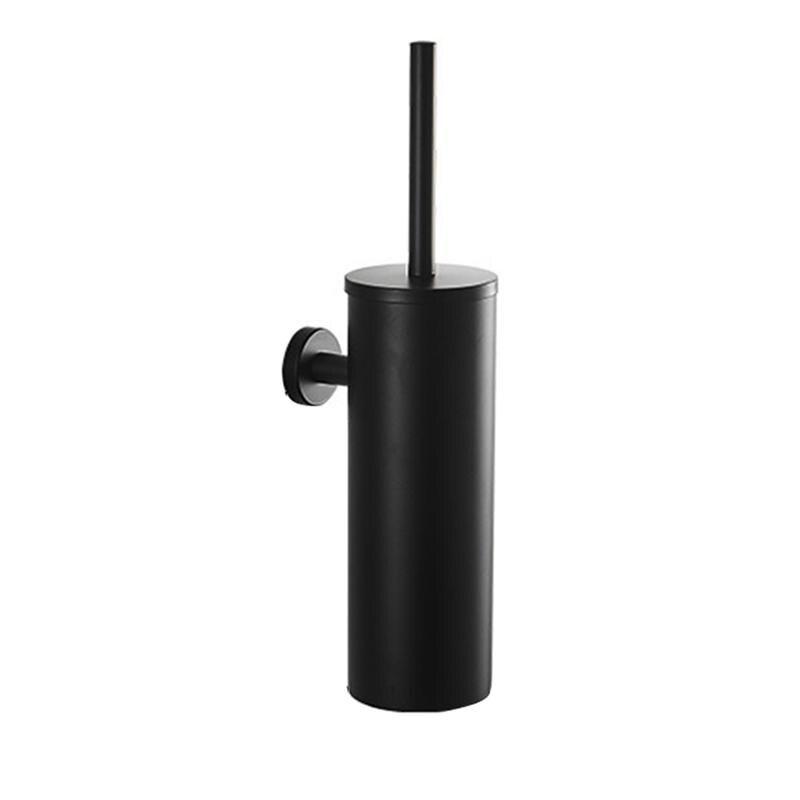 Stainless Steel Toilet Brush Set Wall Mount Toilet Bowl Cleaning Brush And Holder Kit For Bathroom Toilet (Black)