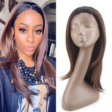 Soft Straight Synthetic Lace Front Wigs With Short Baby Hair X-TRESS Ombre Brown