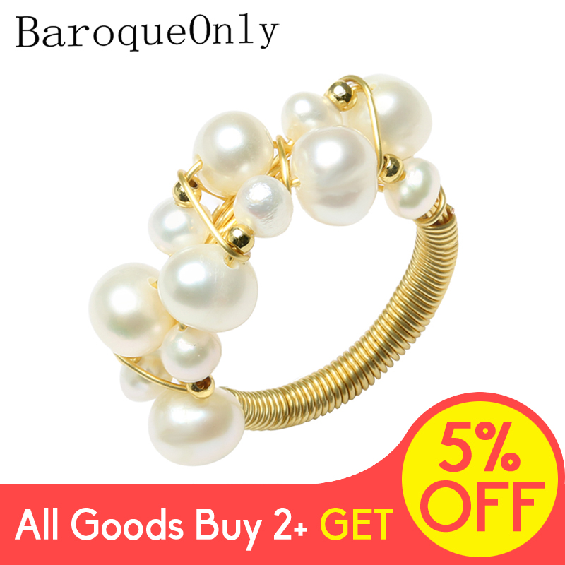 BarqueOnly Handmade Multiple Pearls Wired String Vintage Ring Oval Real Natural Freshwater Pearl ROD Brand Jewelry