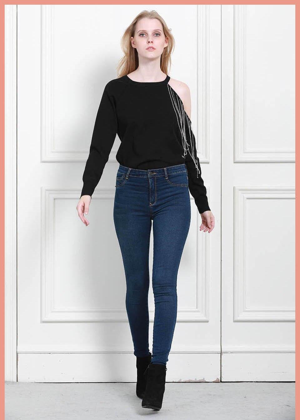 Autumn Winter Women Denim Skinny Pants Super Stretch Fake Front Pocket Waist Blue Grey Black White Slim Elastic Lady Jeans 21