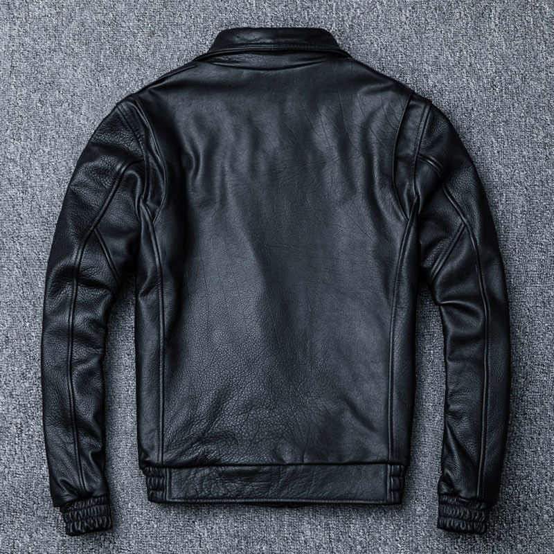 フライトジャケット 100% 牛革レザージャケット男性パイロットアビエイ革ジャケット男厚い冬コート防寒着 M060