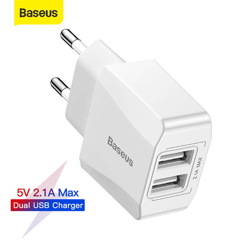 Baseus Dual Usb Charger Eu Plug Quick Lading 2.1A Wall Charger Max Mobiele Telefoon Opladen Mini Adapter Travel Charger Voor iphone 1