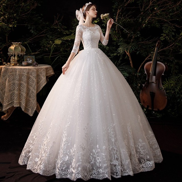 New Sweetheart Three Quarter Elegant Wedding Dress With Sleeve Long Lace Embroidery Train Bridal Gown Plus Size Vestido De Noiva 3