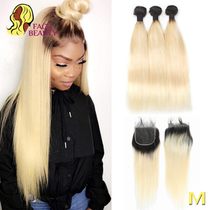 Facebeauty 1B/613 Honey Blonde Brazilian Straight Remy Human Hair 3 Bundles with Lace Closure,Blonde Ombre Bundles with Closure(China)