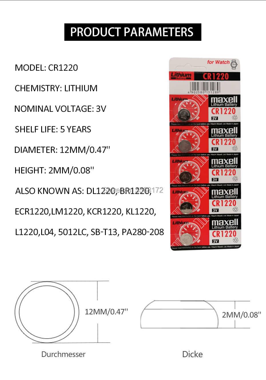 3X Cho Maxell CR1220 Tế Bào Nút Đồng Xu Pin CR1220 Xe Ô Tô Điều Khiển Từ Xa Báo Điện Pin Lithium 3V