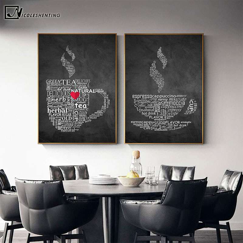 US $2.59 40% OFF|Coffee Cup Wall Art Canvas Painting Nordic Posters And Prints Restanrant Decor Poster Wall Pictures Kitchen Home Decoration|Painting