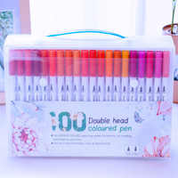48/80/100 farben Feine Liner Zeichnung Malerei Aquarell Art Marker Pen Dual Tip Pinsel Stift Für Schule marker Stift Kunst Liefert