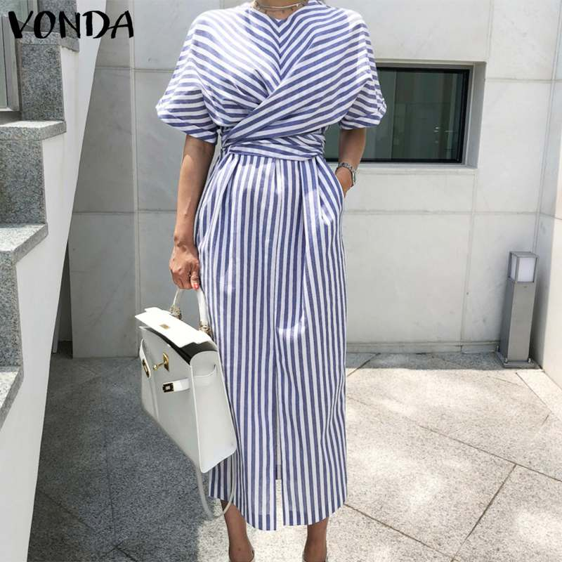 VONDA Elegant Striped Dress Women Casual O Neck Short Sleeve Mid-Calf Dresses Bohemian Beach Sundress Plus Size Loose Vestidos