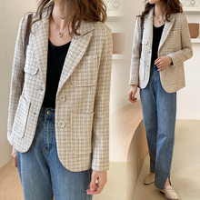 France Elegant Chic Design Pockets Plaid Tweed Blazer Women 2020 Autumn New Notc