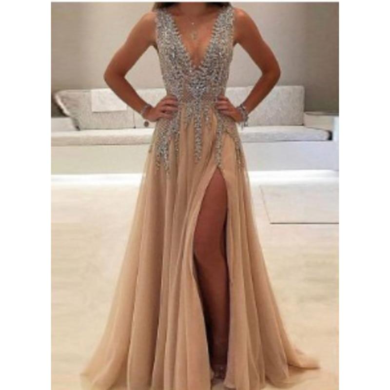 Zoe Saldana Evening Party Dresses Sequins V-neck Sleeveless Sexy Split Banquet Dress Prom Gowns Robe De Soiree