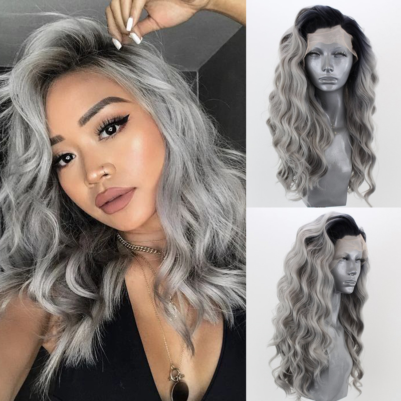 Charisma Ombre Gray Color Heat Resistant Fiber Hair Synthetic Lace Front Wig Long Wavy Two Tone Grey Cosplay Wigs for Women(China)