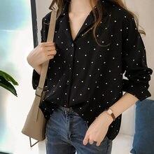 Blusa De lunares para Mujer, camisa De manga larga, Tops coreanos para Mujer, Túnica De Moda, ropa De talla asiática