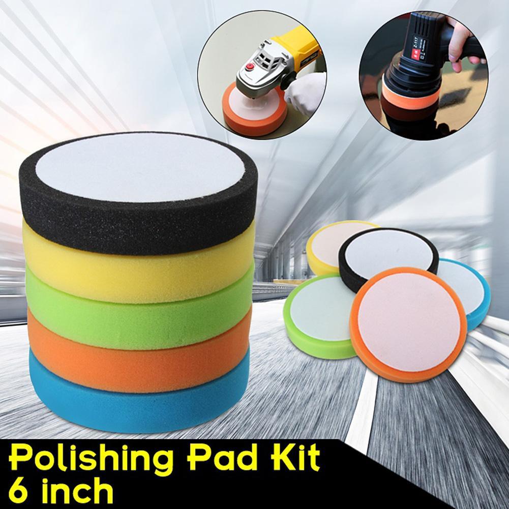 6 Inch 150mm Soft Flat Sponge Buffer Polishing Pad Kit For Auto Car Cloths Polisher Car Refurbishing Tool Car Wash Sponges