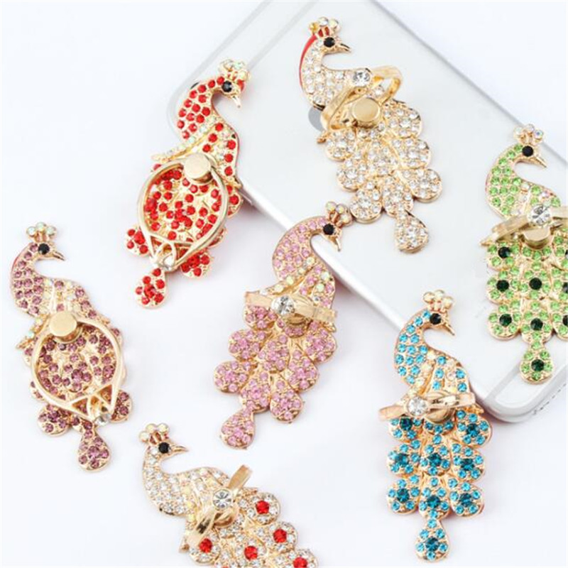 Wing Peacock Mobile Phone Stand Holder Metal For Xiaomi Huawei All Phone Finger Ring Mobile Smartphone Phone Holder Stand