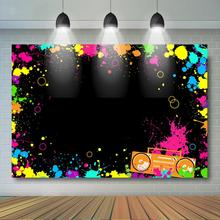 Glow Neon Party Backdrop Lets Splatter Background Laser Ray Disco Retro Bance in The Dark Night Birthday Banner