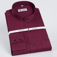 Banded Collar(Mandarin Collar) Solid Dress Shirts 1